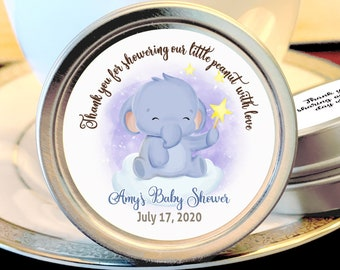 12 Little Elephant Baby Shower Favors | Personalized Mint Tins | Girl Baby Shower | Boy Baby Shower | Cute Elephant Playing with the Stars