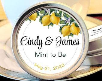 Personalized Botanical Citrus Wedding Favors, Mint Favors, Silver Wedding Favors, Rehearsal Dinner, Bridal Shower, Reception Favors