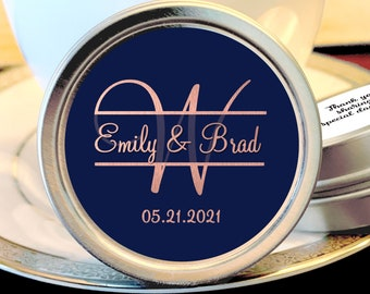 Personalized Monogram Thank You Wedding Guest Mint Favors - Navy Blue and Faux Rose Gold Metallic Foil Silver Mint Tins  - Custom Colors