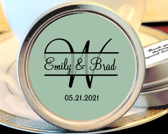 Personalized Monogram Thank You Wedding Guest Mint Favors - Green Tea and Black Silver Mint Tins  - Custom Colors