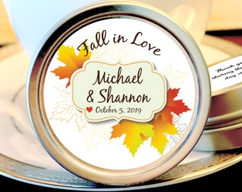 Fall Wedding Favors - Fall Leaves Wedding Mint Tin Favors - Fall In Love - Mint To Be - Fall Wedding Decor - Fall Mint Wedding Favors