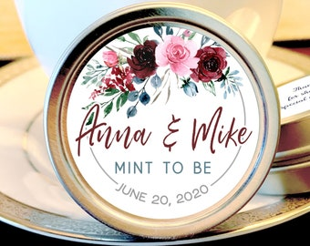 Personalized Wedding Mint Tin Favors | Pink Burgundy Blue Rose | Personalized Silver Round Candy Tin | Mint Favors | Wedding Favors