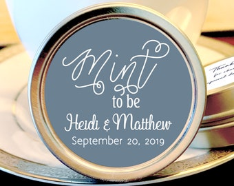 Personalized Mint to Be Wedding Favors Mint Tins - Mint to Be Favors,  Wedding Decor,  Wedding Favors,  Mint Tins,  Slate Gray and White