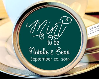 Personalized Mint to Be Wedding Favors Mint Tins - Mint to Be Favors,  Wedding Decor,  Wedding Favors,  Mint Tins,  Emerald and White