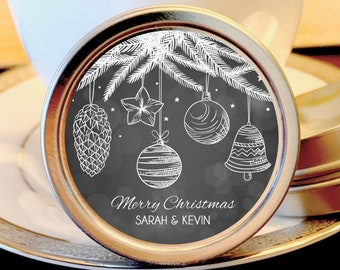12 Happy Holidays Personalized Mint Favors - Holiday Mints - Christmas Mint Favors - Holiday Party Favors - Christmas Favors - Silver