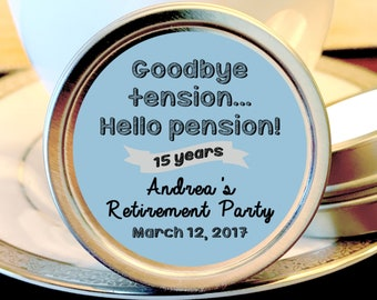 12  Retirement Mint Tins - Goodbye Tension, Hello Pension - RetireMints - Retirement Favors - Retirement Decor - Retirement Mints - Retired