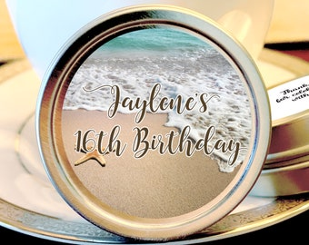 Starfish Birthday Beach Themed Mint Tins  - Birthday Decor - Milestone Birthday - 12 Personalized Birthday Favors - Sweet 16
