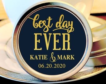 Personalized Best Day Ever Wedding Favors |  Mint Wedding Favors | Wedding Mints| Mint Tin Favors | Rehearsal | Navy and Faux Gold Foil