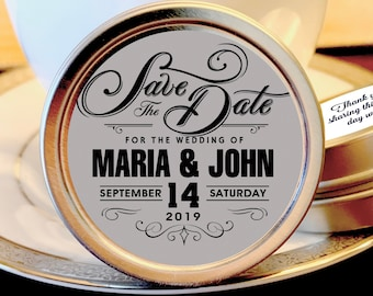 Save the Date Wedding Favor Mint Tins - Personalized Engagement  Favors - Wedding Announcement - Save the Date Favors - 12 Mint Favors
