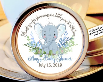 Elephant Baby Shower Favors For Boys | Mint Baby Shower Favors | Thank you for showering our little peanut with love | Set of 12