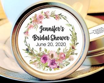 12 Personalized Bridal Shower Favor Mint Tins, Pink and Purple Flowers, Bridal Shower Favors, Bridal Shower Decor, Breath Mint Favors