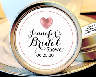 Personalized Bridal Shower Rose Gold Heart Mint Tin Favors | Bridal Shower Favors | Bridal Shower Decor | Shower Mints | Thank You Favors
