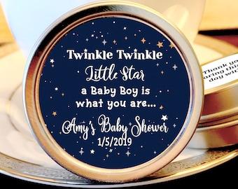 Twinkle Twinkle LIttle Star Baby Shower Favors - Twinkle Twinkle Little Star Favors - Silver Baby Shower Favors - Baby Shower Mints