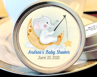 12 Little Elephant Boy Baby Shower Favors | Personalized Mint Tins | Girl Baby Shower Favors | Cute Elephant Fishing on the Moon