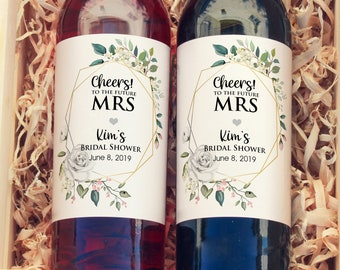 Personalized Greenery White Rose Wine Bottle Labels - Thank You Labels - Bridal Shower Wine Labels - Cheers to the Future Mrs