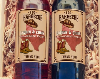 Personalized I DO BBQ Texas Style Wine Bottle Labels  - Thank You Labels - Miniature Wine Labels - Barbecue Wine Labels - Set of 10