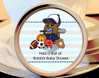12 All Star Baby Shower Mint Tins - African American Boy Baby Shower - Sports Baby Shower - Football Baby Shower - Baby Shower Favors