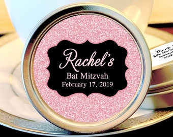 Pink Faux Glitter Bat Mitzvah Party Mint Tins - Bat Mitzvah Favors - Birthday Decor - Mints - Birthday Favors - Bat Mitzvah Mint Tins