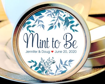175 Personalized Wedding Favors - Wedding Favor Mint Tins - Personalized Mint Favor - Mint to Be Wedding Favor -  Blue Green Leaves Tin Mint