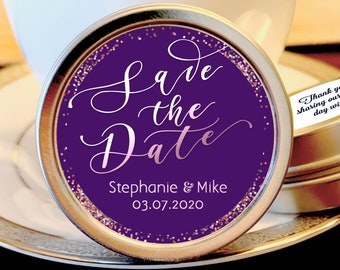 Save the Date Wedding Favor Mint Tins - Personalized Engagement  Favors - Wedding Announcement - Save the Date Favors