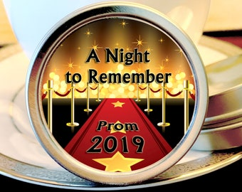 Personalized Hollywood Star A Night To Remember Theme Mint Tin Prom Favors - Pack of 12
