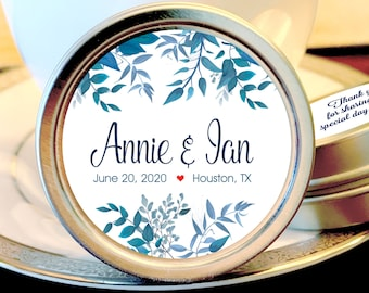 Personalized Wedding Favors - Wedding Favor Mint Tins - Personalized Mint Favor - Mint to Be Wedding Favor -  Blue Green Leaves Tin Mints