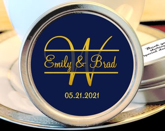 Personalized Monogram Thank You Wedding Guest Mint Favors - Navy Blue and Faux Gold Metallic Foil Silver Mint Tins  - Custom Colors