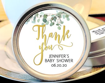 Personalized Silver Round Candy Tin | Eucalyptus Favors |  Botanical Favors | Mint Favor | Baby Shower Favors | Shower Favor | Mint Tins