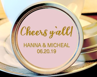 Cheers Y'all Rehearsal Dinner Favors - Rehearsal Dinner Mints - Your Colors - Wedding Mints - Bridal Shower Mints - Rehearsal Dinner Decor