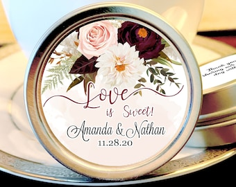 Love Is Sweet Personalized Wedding Mint Favors - Candy Buffet , Rehearsal Dinner, Engagement Party, Bridal Shower Favor, Take Home Favor