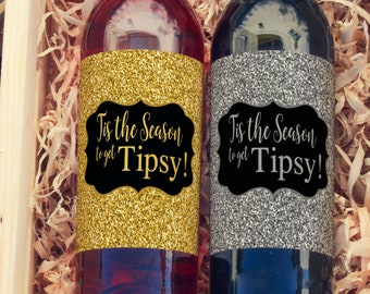 Thank You Wine Labels - Season to Get Tipsy Wine Labels  - Christmas Wine Bottle Labels - Thank you - Wine Gifts