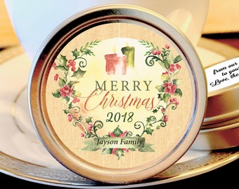 Personalized Merry Christmas Lights Mint Tins Favors | Christmas Favors | Christmas Party Favors | Christmas Stocking Stuffers | Set of 12