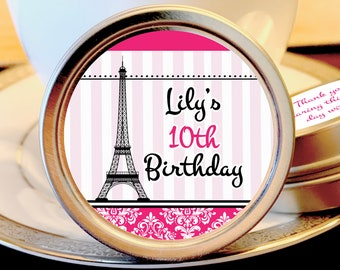 12 Personalized Eiffel Tower Themed Pink Striped Birthday Tin Favors - Personalized Mint Tins - Tin Mints - Paris Themed Birthday Favors