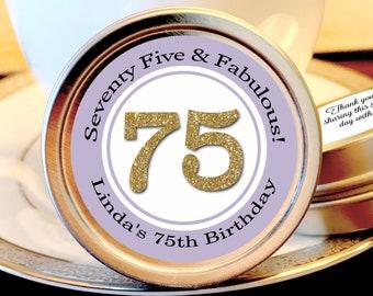 75th Birthday Mint Tin Party Favors - Birthday Party Supplies - Birthday Party Favors - 75th and Fabulous  - Birthday Favor Ideas