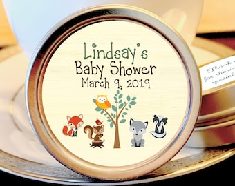 Woodlands Baby Shower Mint Tins - Baby Animals Woodlands - Baby Animals Favors - Baby Shower Favors - Woodlands Baby Shower Favors