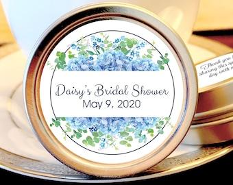 Personalized Hydrangea Blue Bordered Bridal Shower Mint Tins   Bridal Shower Favors   Bridal Shower Decor   Bridal Shower Mints   Set of 12