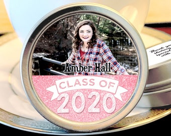Graduation Party Favors -Class of 2020 - Faux Pink Graduation Photo Favors - Graduation Decor - Graduation Favors - Graduation Mints