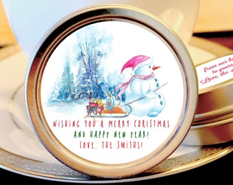 Personalized Merry Christmas Mint Tins Favors | Christmas Favors | Christmas Party Favors | Christmas Stocking Stuffers | Snowman, Set of 12