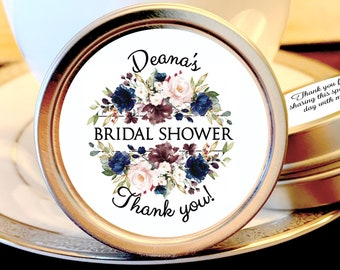 Personalized Navy Blue, Dusty Rose, White and Gold Accents Bridal Shower Favors - Wedding Favors - Mint Tin Favors - Set of 12