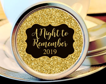 A Night to Remember Personalized Prom Party Favors     Candy Ideas for Prom   Prom Tin Mints   Prom Mint Tins   School Dance Favors