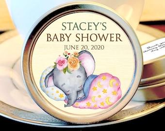 12 Elephants Baby Shower Mint Tins - Baby Elephant Woodlands - Baby Animals Favors - Baby Shower Favors - Elephants Baby Shower Favors