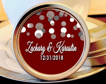 12 Personalized Burgundy & Silver Dots Mint Tin Favors - Personalized Wedding Favors - Winter Wedding Favors - Burgundy Favors