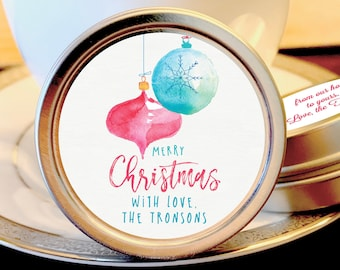 Personalized Merry Christmas Mint Tins Favors | Christmas Favors | Christmas Party Favors | Christmas Stocking Stuffers | Set of 12