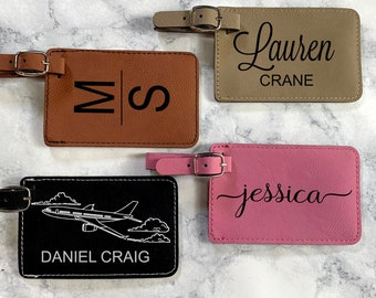 Custom Engraved Luggage Tag, Leather Luggage Tag, ID Name Tag, Monogram Suitcase Tag, Carry On Tag, Backpack Tag, ID Bag Tag