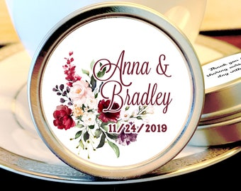 Personalized Burgundy Rose Mint Tin Favors - Burgundy Rose Wedding Favor -Bridal Shower Favor - Tin Mints - Burgundy Rose - Mint Favors