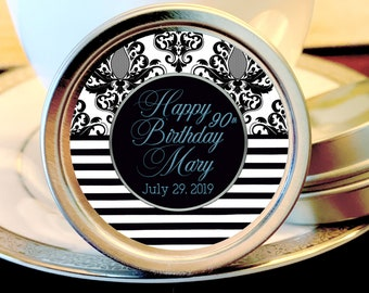 Damask and Stripes Cursive Personalized  Birthday Party Favors - Birthday Mint Tins - Birthday Tin Mints - Birthday Favors - Birthday Mints