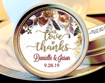 With Love and Thanks Fall Wedding Favors -  Wedding Mint Tin Favors - Mint To Be - Mint Tins Wedding Favors - Wedding Mints - Wedding Decor