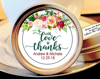 Pink Rose With Love and Thanks Personalized Mint Tins - Personalized Wedding Mint Tin Favors - Personalized Wedding Favors - set of 12