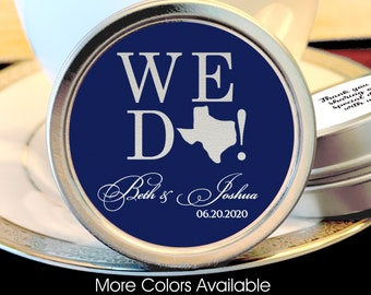 """Personalized """"We Do!"""" Mint Favors, Mint Tins, State Wedding Favors,Rehearsal Dinner Favors, Engagement Favors, Silver Wedding Favors"""