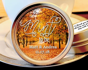 Personalized Fall Wedding Mint to Be Mint Favor Tins - Fall Wedding Decor  - Wedding Favors - Fall Weddings - Rustic Weddings - Set of 12